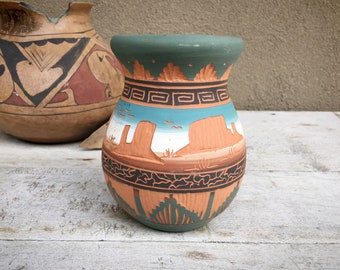 Small Signed Etched Navajo Pot in Ombre Terracotta Teal Colors, Native American Indian Pottery