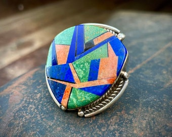 Large Mosaic Inlay Ring Size 8 of Lapis Lazuli Green Turquoise Orange Spiny Oyster Navajo Made