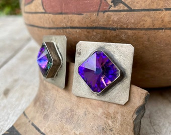 1980s Square Sterling Silver Post Earrings with Manmade Alexandrite Gemstone, Anniversary Gift