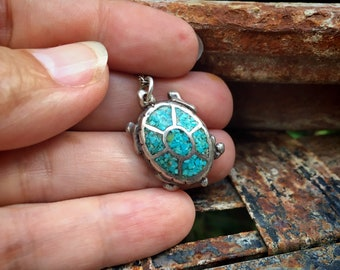 Sterling Silver Turtle Fetish Crushed Turquoise Pendant Necklace, Tortoise Totem Gift
