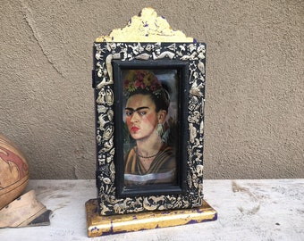 Vintage Mexican Milagro Shrine Shadowbox with Vintage Frida Print, Lucky Charms Talisman, Miracle Art