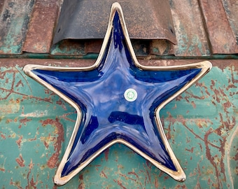 Vintage Spanish Recycled Cobalt Glass Starfish Shaped Appetizer Tray Silver Rim, Beach House Decor