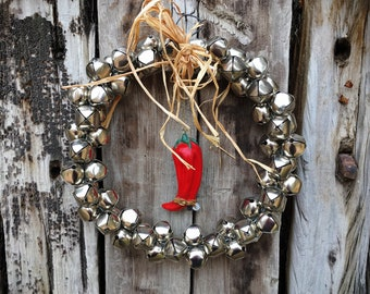 """11"""" Diameter Jingle Bell Wreath with Red Chile Cowboy Boot Ornament, Southwestern Christmas Decor for Door or Gate, Xmas Decoration"""