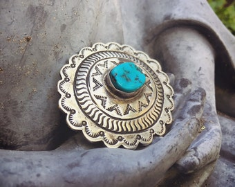 Vintage Turquoise Brooch Pin Navajo Stamped Sterling Silver Concho Jewelry, Native American Indian