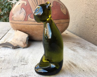 Small Vintage Olive Green Glass Cat Figurine Sun Catcher Paperweight, Kitten Gifts for Pet  Lover
