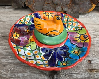 Talavera Deviled Egg Holder with Chicken Lid for Tapenade, Holiday Serving Tray
