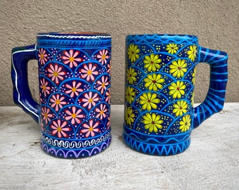 Pair of Vintage Colorful Pottery Stein Large Coffee Mug Flower Design, Guerrero Mexican Folk Art