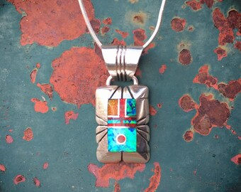 Signed Navajo Channel Inlay Sterling Silver Opal Pendant Necklace for Women, Native American Indian Jewelry