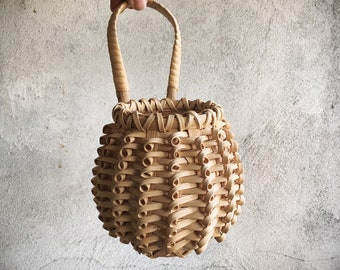 Small Vintage Chinese Woven Basket to Hang for Small Flower Bouquet, Farmhouse Decor, Primitive Decor, Herb Basket, Gift Giving Basket