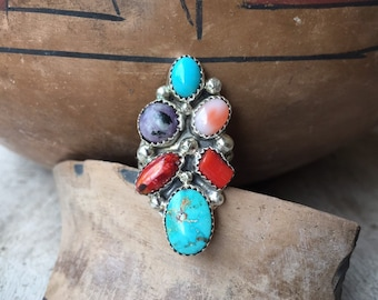 Multi Color Multi Stone Turquoise Ring Women's Size 8.25, Navajo Native American Indian Jewelry