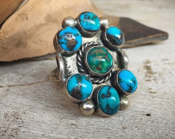 Old Pawn Turquoise Ring for Women Size 11.75, Native American Indian Jewelry