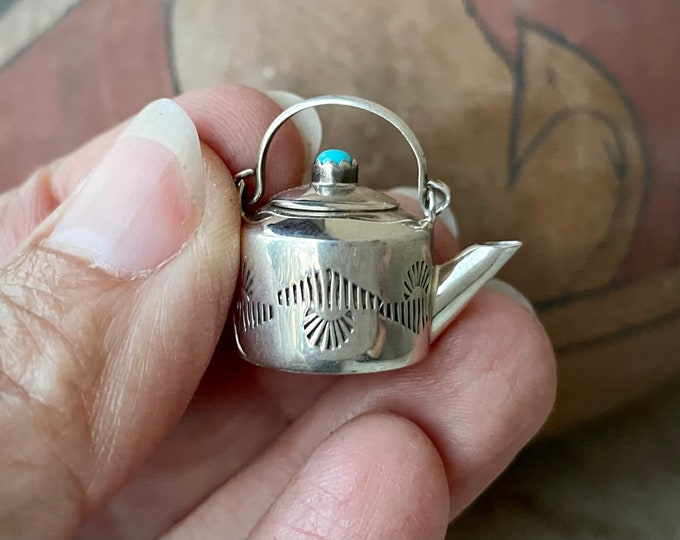 Featured listing image: Navajo Elizabeth Whitman Miniature Stamped Silver Teapot Charm with Snake Eye Turquoise