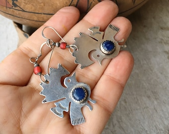 Vintage Guatemalan Sterling Silver Lapis Lazuli Peacock Earrings, Bird Jewelry, Gift for Animal Lover