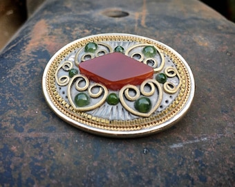 Vintage Michal Golan Brooch Pin with Carnelian Mixed Metal Hearts, Bohemian Eclectic Jewelry