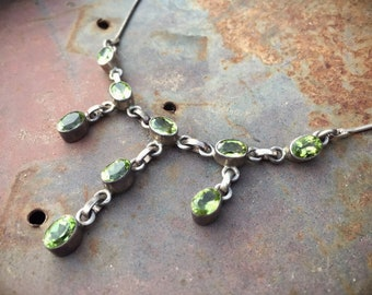 Vintage Sterling Silver Peridot Choker Necklace for Women Boho Jewelry, Bohemian Necklace, Birthstone Jewelry