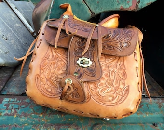 1960s Tooled Leather Horse Saddle Purse Made in Mexico, Hippie Shoulder Bag Southwestern Western