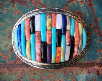 Native American Carlos Eagle Cornrow Inlay Multi Stone Turquoise Belt Buckle for Women or Men