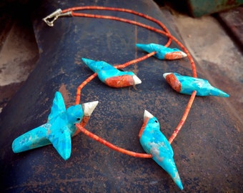 Carved Blue Turquoise Red Breasted Robin Fetish Necklace by Artist Matt Mitchell, Southwest Jewelry