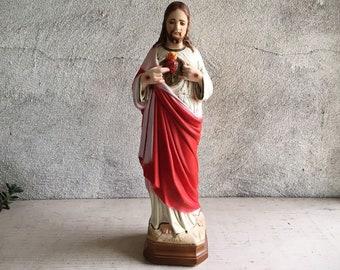 "Vintage 12.5"" Tall Jesus Sacred Heart Chalkware Statue, Jesus Christ Figurine, Catholic Altar Art, Confirmation Baptism Gift for Godparents"