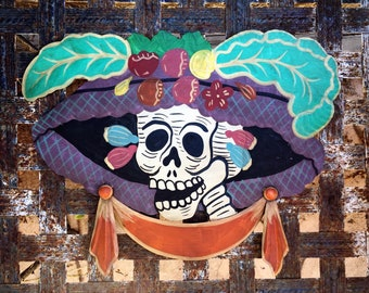Large Vintage Painted Tin Catrina with Hat Wall Hanging Day of Dead Ofrenda Altar Skeleton Art, Mexican Decor