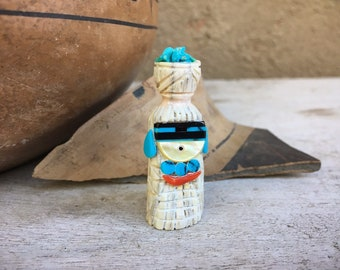 Small Hand Carved Zuni Fetish of Corn Maiden by Albert Eustace Carving Kachina Inlaid Turquoise