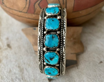 Nine-Stone Navajo Nugget Turquoise Sterling Silver Cuff by Navajo Melvin Thompson, Native American