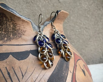 Vintage Sterling Silver and Blue and Yellow Glass Grape Cluster Earrings for Women, Boho Jewelry, Cha Cha Earrings