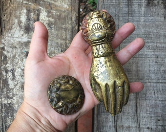 Brass Hand Door Knocker Victorian Hand Architectural Salvage, Hand of Fatima, Brass Door Knocker Vintage