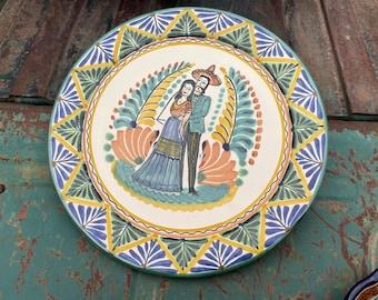 "12"" Diameter Vintage Gorky Gonzales Plate Wall Hanging Talavera Pottery Mexican Folk Art Rustic"