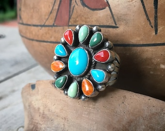 Navajo Bobby Johnson Multistone Turquoise Cluster Ring for Women Size 8, Native American Jewelry