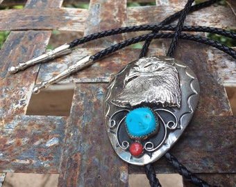 Vintage Eagle Motif German Silver Bolo Tie for Men, Authentic Turquoise and Coral Western Tie