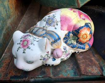 Vintage Chinese Sleeping Cat Enamel Hand Painted Porcelain Statue Tobacco Leaf, Chinoiserie Decor