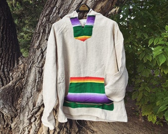 Vintage Mexican Hooded Pullover Jacket with Serape Pocket, Unisex Baja Hoodie Drug Rug