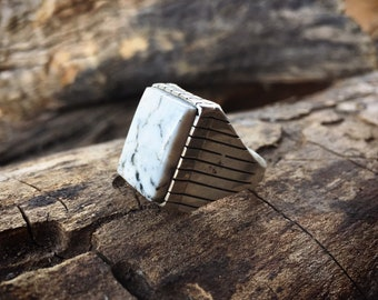 Men's Ring Size 13.25 White Buffalo Turquoise, Native American Indian Jewelry, Gift for Husband
