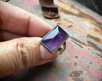 925 Sterling Silver Amethyst Ring Size 5.5 for Women Her, February Birthstone Purple Jewelry Bohemian