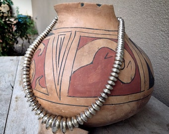 """74g Sterling Silver Navajo Pearls Seed Bead Necklace 18"""", Native American Indian Jewelry Minimalist"""