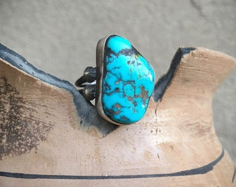 Matrixed Real Turquoise Ring for Women Size 6, Navajo Native America Indian Jewelry