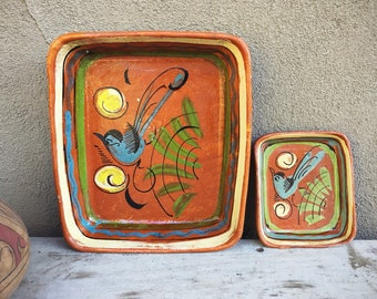 Old Mexican Pottery Rectangular Dishes, Tlaquepaque Blue Bird Decor Folk Art Pottery, Rustic Home