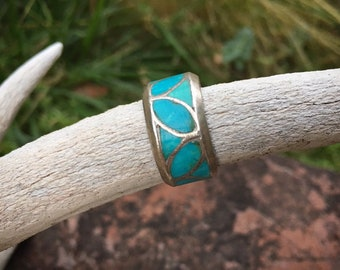 Vintage Size 9 to 9.25 Turquoise Channel Inlay Band for Men, Native America Indian Jewelry