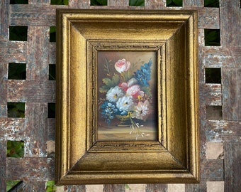 Small Oil Painting of Still Life Flower Bouquet in Gold Painted Wood Frame, Original Artwork Mini