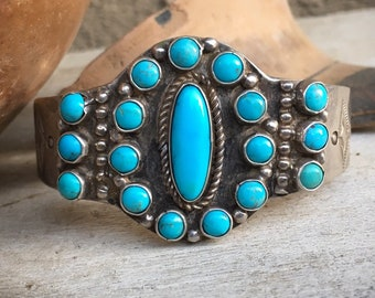 64g Vintage Turquoise Bracelet for Women, Signed Navajo Native American Indian Jewelry
