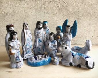 Vintage Tonala Mexican Pottery 13 Pieces Christmas Nativity Scene Set, Southwestern Decor