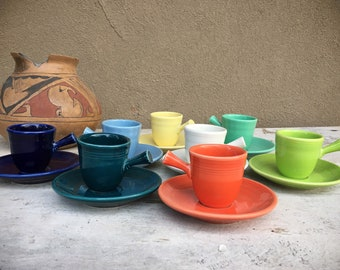 Set of Eight Fiesta Demitasse Stick Handle Coffee Cups and Saucers Circa 1936-1951, After Dinner