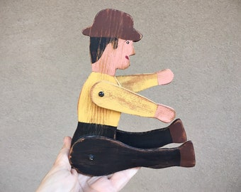 Vintage Handmade Wooden Folk Art Figure of Man with Moving Arms and Legs, Collectible Primitive Wooden Doll, Gift for Folk Art Collector