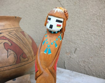Hand Carved and Painted Hopi Planting Katsina Doll, Kachina Wood Carving, Signed Native American Art