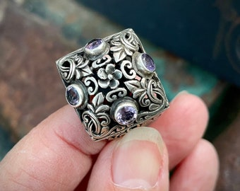 Large Ornate 925 Sterling Silver Filigree Ring with Purple Amethyst, February Birthstone Jewelry