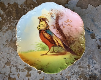 Antique Limoges 1906 Hand Painted Porcelain Plate with Oriental Pheasant Signed by Artist