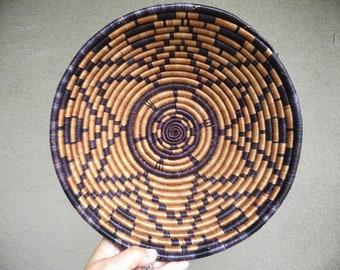 Vintage Basket Bowl Wall Hanging Brown Purple Decor Coiled Basket Bohemian Decor, Tribal Raffia