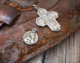 Vintage Holy Charm Catholic Medal for Bracelet or Necklace Tiny Angel or I Am a Catholic, Angel Milagro, Unisex Pendant Cross, Cherub Gifts
