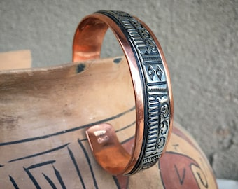 Copper and German Silver Navajo Stacking Cuff Bracelet Unisex, Native America Indian Jewelry